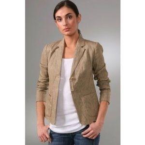 Vince Rustic Linen Cotton Tan Two Button Blazer 2